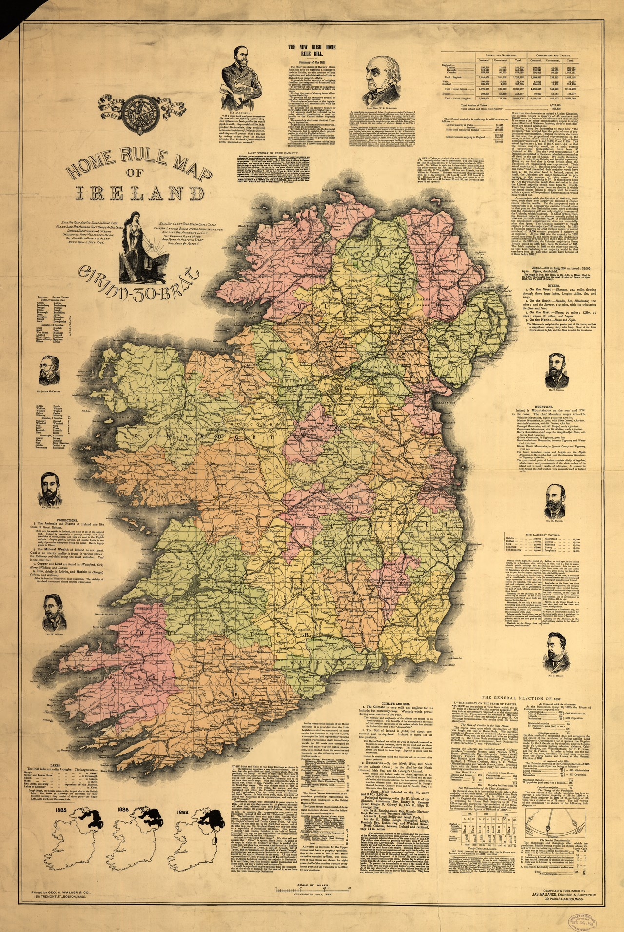 Full Map Of Ireland.Home Rule Map Of Ireland Ucd Digital Library