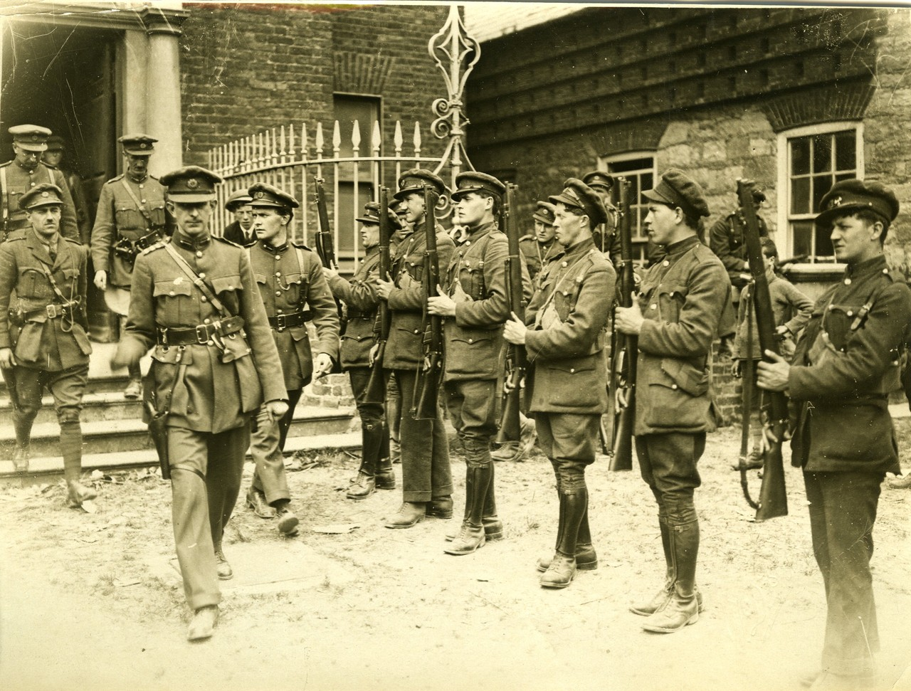 Irish Free State Army officers leaving a building, including Michael