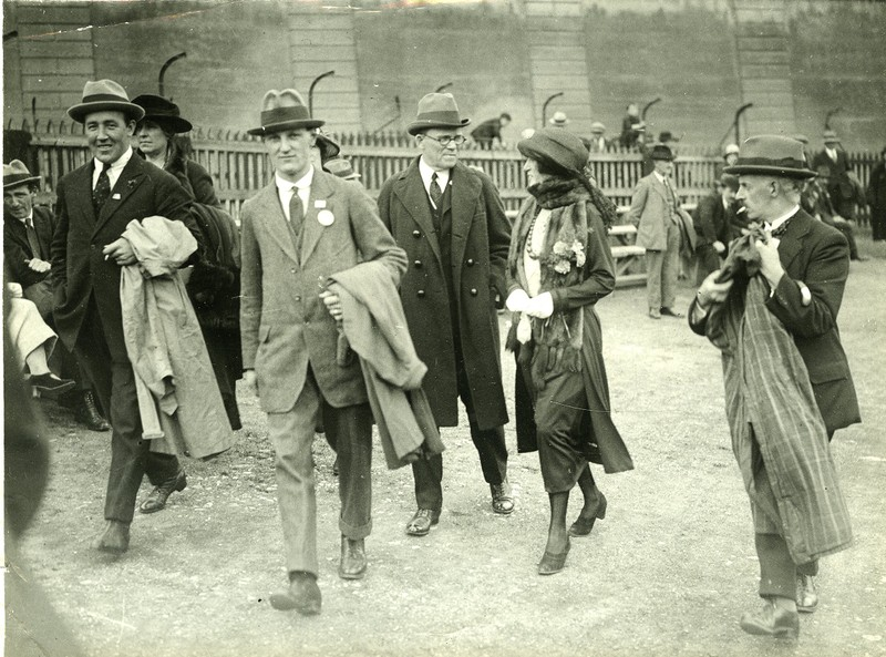 group of men and women walking, including Ernest Blythe ...