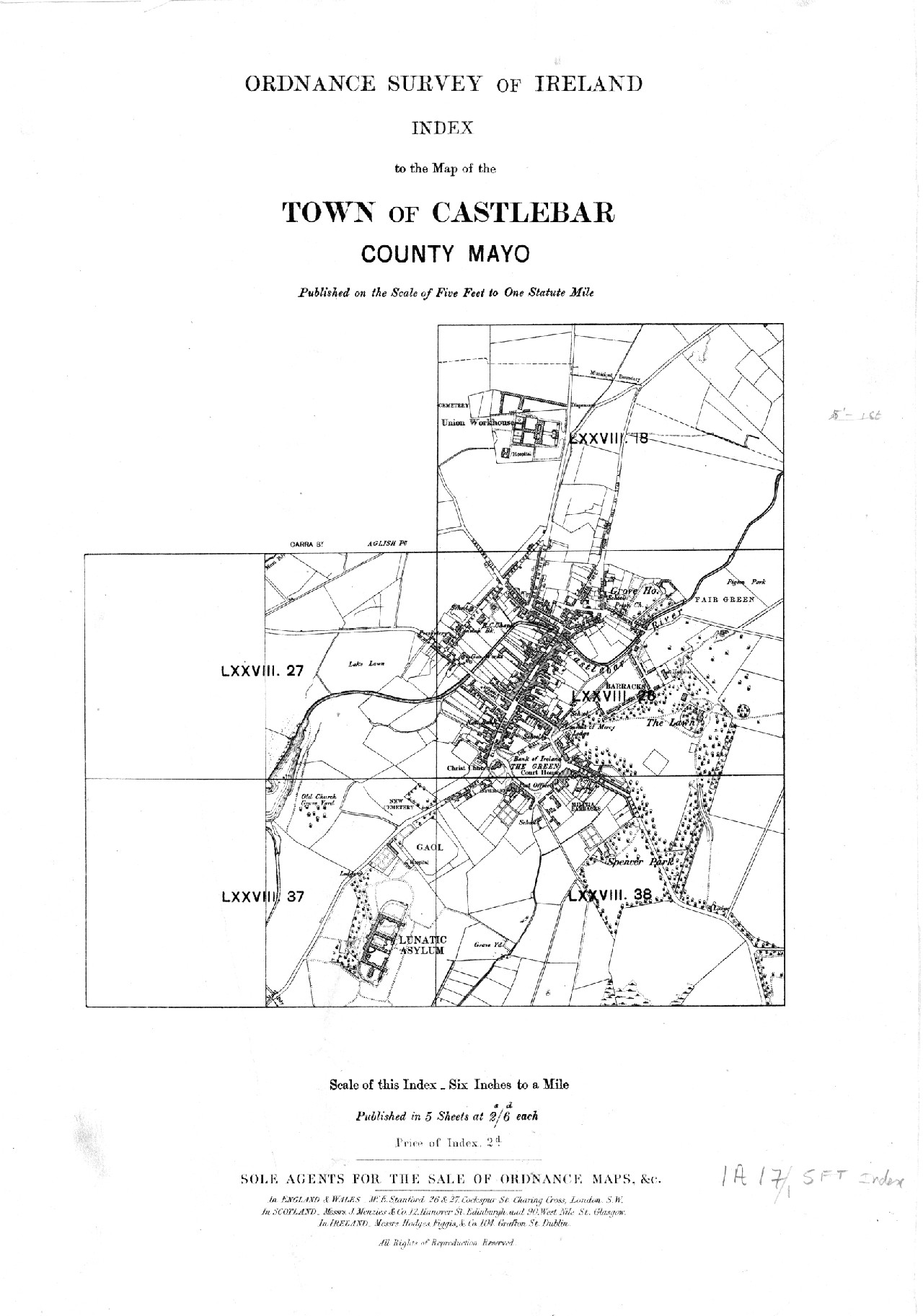 Ordnance Survey Of Ireland Index To The Map Of The Town Of Castlebar