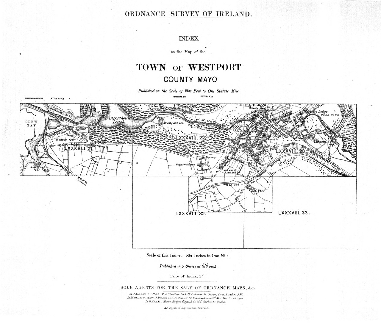 Ordnance Survey Of Ireland Index To The Map Of The Town Of Westport
